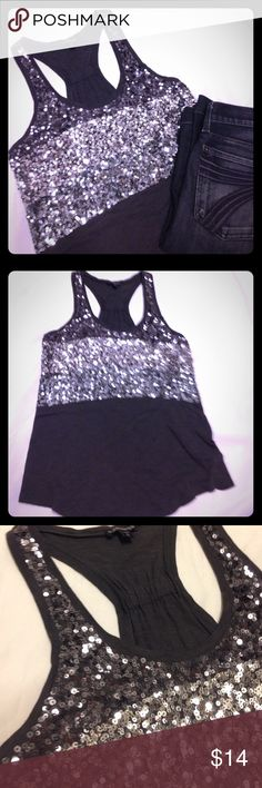 Host Pick🎉Express Sequined Tank This tank top is beautiful and is perfect for taking from day to night! It is a nice grey with silver and dark grey sequins. It is a racerback tank and is light, loose and stylish. 60% cotton 40% modal. Size Small. Express Tops Tank Tops