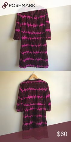 Boden Corduroy Polka Dot Dress Amazing button down tunic dress from Boden... Fuschia pink with burgundy polka dots... Polyester/viscose burgundy lining... Size US 10L... In excellent condition Boden Dresses Long Sleeve