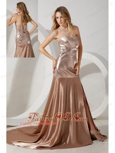 Brown Empire Sweetheart Prom / Evening Dress Court Train Sequin and Elastic Woven Satin- $176.59  http://www.fashionos.com/   | high end low price | 2013 popular prom dress for celebrity | spring collection | where you can order prom dress | sweetheart strapless prom dress | corset style closure prom dress | social activities club | lace up back prom dress |