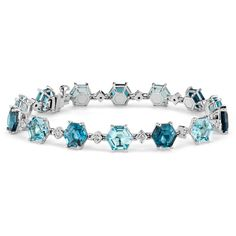 Blue Nile Blue Topaz Hexagon Bracelet 14k White Gold (7x7mm) ($3,300) ❤ liked on Polyvore featuring jewelry, bracelets, 14k bracelet, tri color bracelet, blue nile jewelry, colorful bracelet and blue topaz jewelry