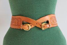 Vintage Belt / 1950s Tooled Leather Belt / 50s Wide Leather Belt. $58.00, via Etsy.