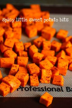16 oz diced sweet potatoes, 2 tsp cumin, 1 tsp chili powder, 1/2 tsp salt, 1/4 tsp garlic powder, pinch cayenne, 2 tsp oil. preheat oven to 400 degrees, toss potatoes in bowl with spices & oil, spread on lined baking sheet & roast for 30 mins or until very tender.