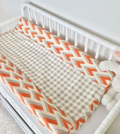 Orange and Grey Arrowhead, Mint Aztec, Burlap, Ivory with Gold Arrows, and Tan Plaid Crib Bedding Tribal Bedding, Baby Boy Bedding, Baby Design, Linen Bedding, Bed Sheets, Aztec, Cribs, Color Pop, Burlap