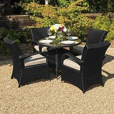 Maze Rattan Outdoor Garden Furniture Texas 4 Seat 80cm Round Table Rattan Dining Set