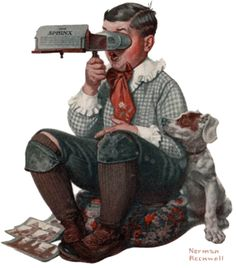Norman Rockwell  The Sphinx - The boy looking through a stereoscope, January 14, 1922.