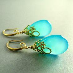 Aqua Blue Chalcedony Drop Bubble Earrings by SurfAndSand.  So beautiful!