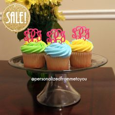 monogrammed cupcake toppers.