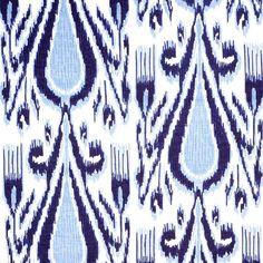 John Robshaw Textiles - Fergana Indigo - Blockprinted Linens - Fabric