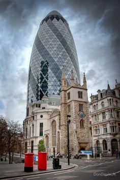 Moody Gherkin: London, UK. by DonDavisUK