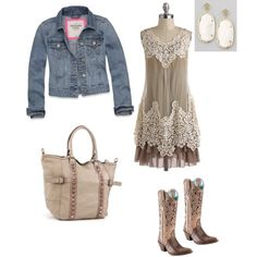 A fashion look from January 2013 featuring Ryu dresses, Abercrombie & Fitch jackets and Liebeskind handbags. Browse and shop related looks. Cowgirl Outfits, Western Outfits, Western Wear, Boho Outfits, Vintage Outfits, Cute Outfits, Fashion Outfits, Womens Fashion, Bohemian Dresses