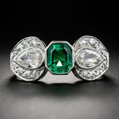 Art Deco Emerald and Diamond Ring - Antique & Vintage Gemstone Rings - Vintage Jewelry