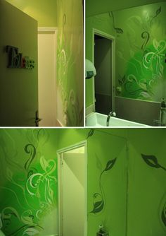 Decoration with acrylic and spray colors, floral theme, in a bathroom of bistro #Painting #wall #green #stencil #murals #interior #toilettes #bathroom  #ovunque #flower #spraypaint #floral #artnuveau
