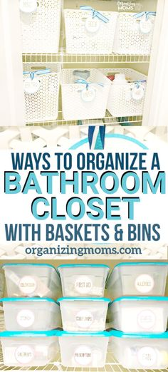 How to organize your bathroom closet using baskets and bins. An easy way to organize the linen closet in your bathroom to make the most of your space. Bathroom Closet Organization, Clutter Organization, Closet Storage, Organize Bathroom Closet, Organization Ideas, Household Organization, Cabinet Storage, Storage Ideas, Bathroom Photos