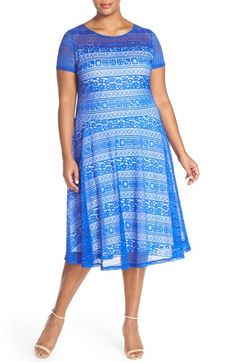 Sangria Stretch Lace Fit & Flare Dress (Plus Size) available at #Nordstrom