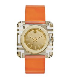 The Izzie Watch, with a bold and clear square case inlaid with geometric fretwork