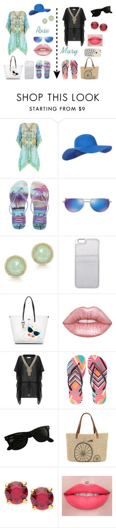 """""""Rose e Mary -Praia"""" by artemisa-538 ❤ liked on Polyvore featuring ELIZABETH HURLEY beach, Accessorize, Havaianas, Maui Jim, Anne Sisteron, MICHAEL Michael Kors, Karl Lagerfeld, Ray-Ban, Straw Studios and Anne Klein"""