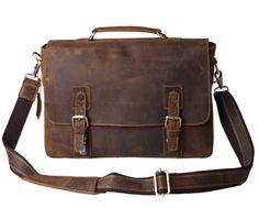 "Amazon.com: Kattee Vintage Genuine Leather Briefcase Messenger Bag, Fit 14"" Laptop: Clothing"