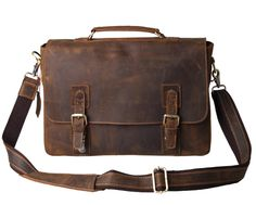 "Kattee Vintage Genuine Leather Briefcase Messenger Bag, Fit 14"" Laptop"