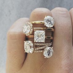 We can't get enough of these beautiful gold engagement rings! #love #sparkle That square center one especially!
