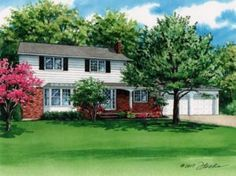 Watercolor portrait of home in West Seneca, New York created by Custom House Portraits by Richelle Flecke. Watercolor Portraits, Watercolor Paintings, West Seneca, New York Homes, New West, Custom Homes, Home Art, Brick, Exterior