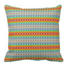 Elegant tribal rhombus native pattern classic throw pillows