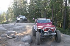 The GenRight YJ out on the Rubicon trail for the 2013 Jeeper's Jamboree. Rubicon Trail, Red Jeep, Jeep Wrangler Yj, Country Boys, Jeep Life, Land Cruiser, Offroad, 4x4, Autos