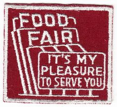 Food Fair employee patch, 1960s.