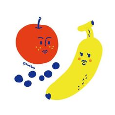 Fruit illustration Fruit Illustration, Food Illustrations, Graphic Design Illustration, Cute Monsters Drawings, Kawaii Doodles, Posca, Kids Prints, Pictures To Paint, Drawing For Kids