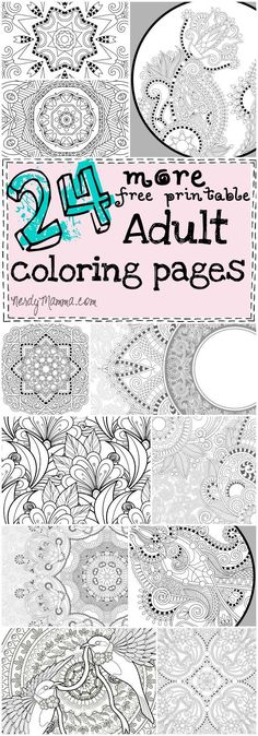 24 more free printable adult coloring pages - Fractal Coloring Book