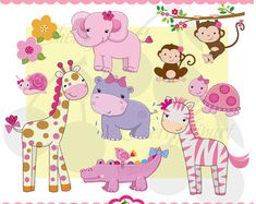 Girls Jungle Animals Digital Clipart Set 02 Personal and