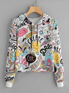 Cartoon Graphic Print Crop Hoodie 2018 Spring Autumn Female Hooded Long Sleeve Women Multicolor Casual Sweatshirt Multi S Komplette Outfits, Teen Fashion Outfits, Trendy Outfits, Crop Top Hoodie, Cropped Hoodie, Vetement Fashion, Sweat Shirt, Romwe, Clothes