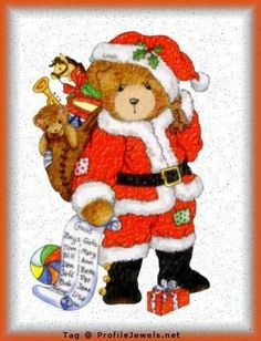 Teddy Bear Santa::Now, why don't we see many teddy bears on cards and decos at Christmas anymore? Are they passé?