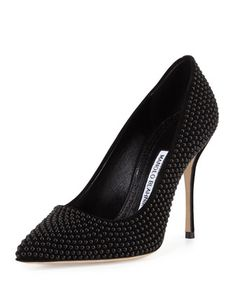 BB+Pearly+Suede+105mm+Pump,+Black+by+Manolo+Blahnik+at+Neiman+Marcus.
