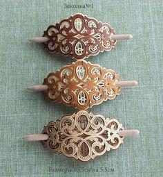 Купить Заколки - заколки для волос, ручная работа handmade, прорезная береста, изделия из бересты