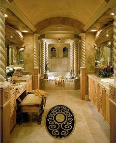 Add some vanities to your millionaire bathroom and I'm sure that the result will be incredible. | millionaire bathrooms | http://maisonvalentina.net/ #bathroom  #luxurybathroom #luxurybathroomideas #luxuryfurniture #interiordesign #luxurydesign #homedecor