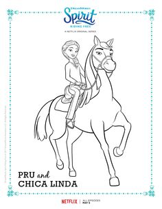 Spirit Riding Free Pru and Chica Linda Coloring Page Horse Coloring Pages, Colouring Pages, Coloring Books, Free Coloring, Coloring Pages For Kids, Spirit The Horse, Horse Birthday Parties, 4th Birthday, Free Characters