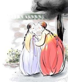 Hanbok (Korean traditional dress) illustration - artist unknown