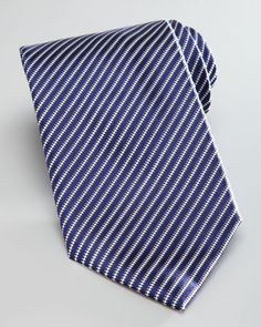 Thin-Striped Silk Tie, Navy by Brioni at Neiman Marcus.