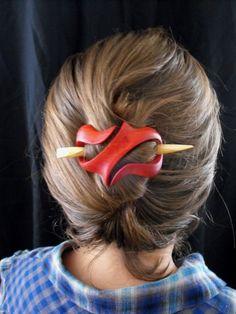 Wooden Hair Ornament Red  Long Hair Natural Feminine by janadebra, $34.95