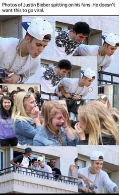 Justin Bieber spitting on his fans!! The poor girl looks so humiliated and hurt!! :( This is why I LOVE ONE DIRECTION (My daughter's favorite)! They appreciate their fans!!