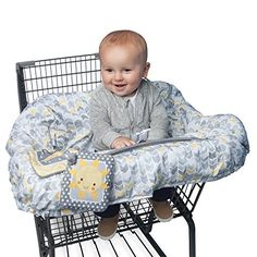 Boppy Shopping Cart Cover, Sunshine/Gray Extra large size for full coverage on shopping carts or high chairs Patented Sideline system attaches toys for baby Safety strap keeps baby secure Plush, crinkle toy included Machine washable Cart Cover For Baby, Baby Shopping Cart Cover, Shopping Carts, Cyber Monday, Highchair Cover, Nursing Pillow, Cover Gray, Babies R Us, Happy Mom