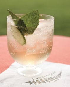 Elderflower liqueur, prosecco, and cucumber. refreshing for summer