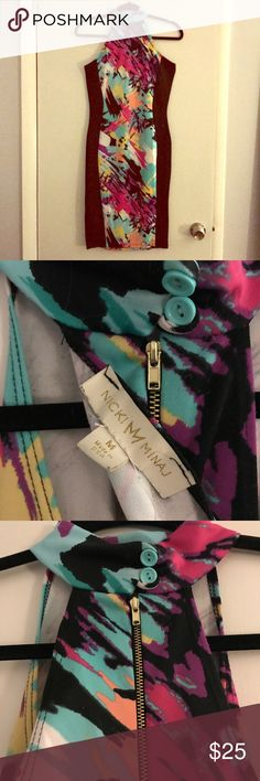 NICKI MINAJ abstract neon bib neck bodycon dress Nicki Minaj band. Super sexy midi length body con dress with a bib neck and sleek black side paneling. Double button and zip back closure. Only worn once. In like-new condition. Nicki Minaj Dresses Midi