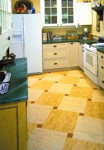 This new linoleum floor in a checkerboard pattern is from Forbo.