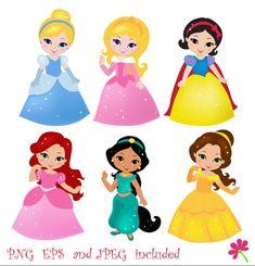 Princess 02 Digital Clipart / Cute Princess Clip Art / Fairytale Princess…