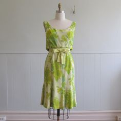 1960s vintage lemon and lime chiffon party frock.  greatestfriend  $78