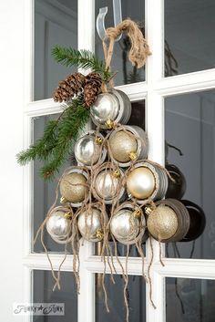 Mason jar lid ornament Christmas tree for a front door on FunkyJunkInteriors.net #12days72ideas