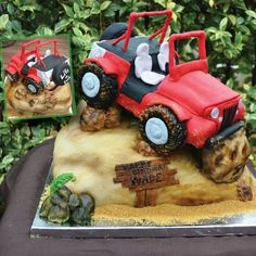 Loved making this jeep cake! All edible! This was for a 40 year old bday! His wife sent me pictures of his jeep and wanted it going over a hill! So much fun to create… was also the first time I used my new airbrush machine… not bad if I say. Car Cakes For Men, Cakes For Boys, Rock Climbing Cake, Jeep Cake, Fondant, Biscuit, Vintage Rolls Royce, Cars Birthday Parties, 50th Birthday