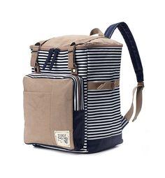 Stripe pattern Square Fabric Backpack Navy van BagDoRi op Etsy, $75.50