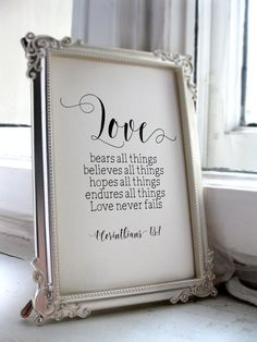 Wedding Quotes for the Bride and Groom, 1 Corinthians 13:7, Scripture Print, Wedding Quotes and Poems, Inspirational Quote Christian BD597